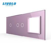 Сенсорная панель выключателя Livolo 3 каналов и розетку (1-2-0) розовый стекло (VL-C7-C1/C2/SR-17), фото 1