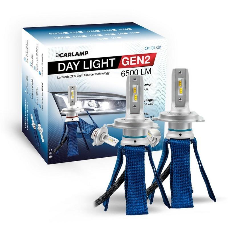 Светодиодные автолампы H4 CARLAMP Day Light GEN2 Led для авто 6000K 6500Lm ZES (DLGH4)