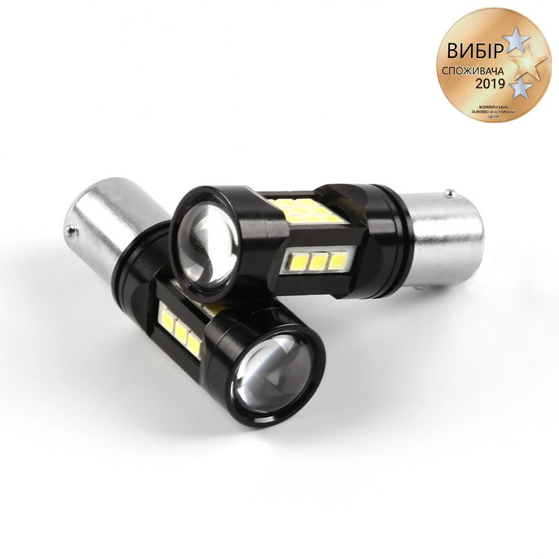 Светодиодные лампочки Carlamp 600Лм 6000К 9-16В P21W (5G27SMD-1156-W -180)