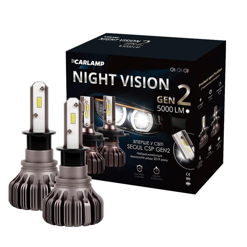 Светодиодные автолампы H3 Carlamp Night Vision Gen2 Led для авто 5000 Lm 5500 K IP68K (NVGH3)