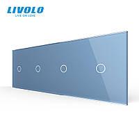 Сенсорная панель выключателя Livolo 4 канала (1-1-1-1) голубой стекло (VL-C7-C1/C1/C1/C1-19), фото 1