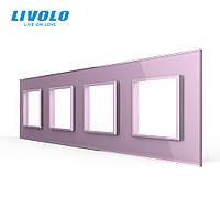 Рамка розетки Livolo 4 поста розовый стекло (VL-C7-SR/SR/SR/SR-17), фото 1