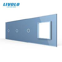 Сенсорная панель выключателя Livolo 3 канала и розетку (1-1-1-0) голубой стекло (VL-C7-C1/C1/C1/SR-19), фото 1