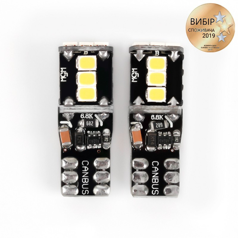 Светодиодная лампочка Carlamp Canbus с обманкой 9-24В 200Лм 6000К 3G9-T10(W5W)-W
