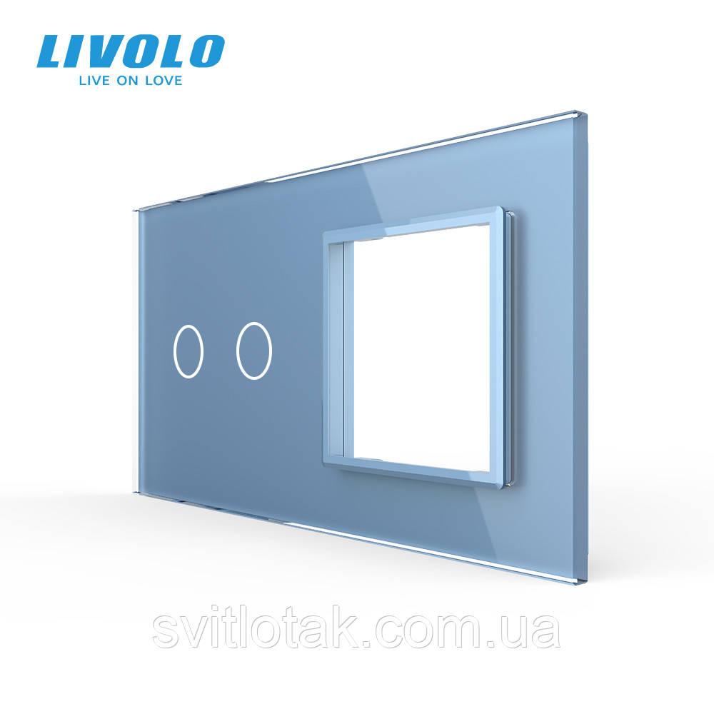 Сенсорная панель выключателя Livolo 2 канала и розетки (2-0) голубой стекло (VL-C7-C2/SR-19)