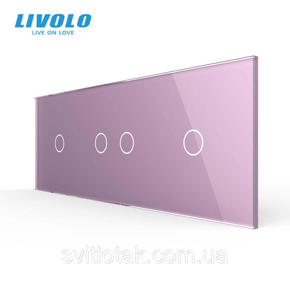 Сенсорная панель выключателя Livolo 4 канала (1-2-1) розовый стекло (VL-C7-C1/C2/C1-17)
