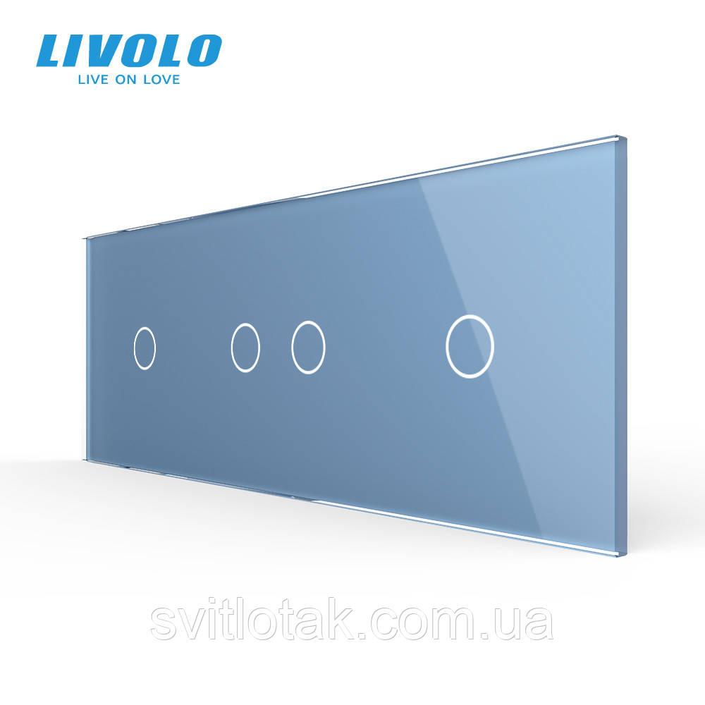 Сенсорна панель вимикача Livolo 4 канали (1-2-1) блакитний скло (VL-C7-C1/C2/C1-19)