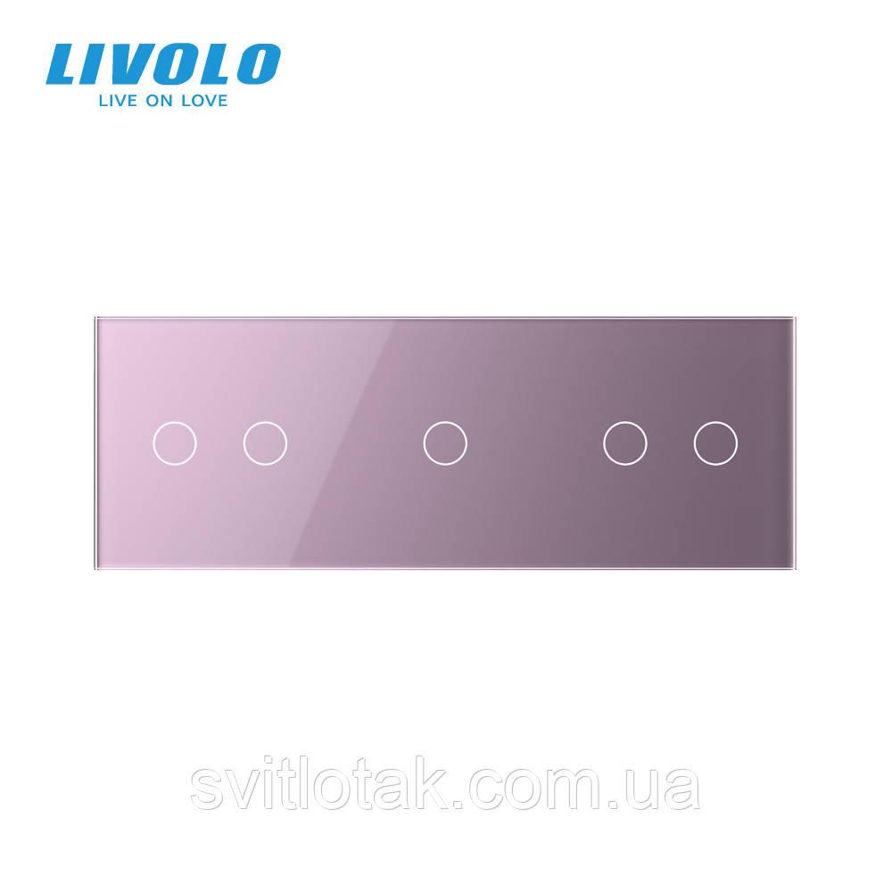 Сенсорна панель вимикача Livolo 5 каналів (2-1-2) рожевий скло (VL-C7-C2/C1/C2-17)