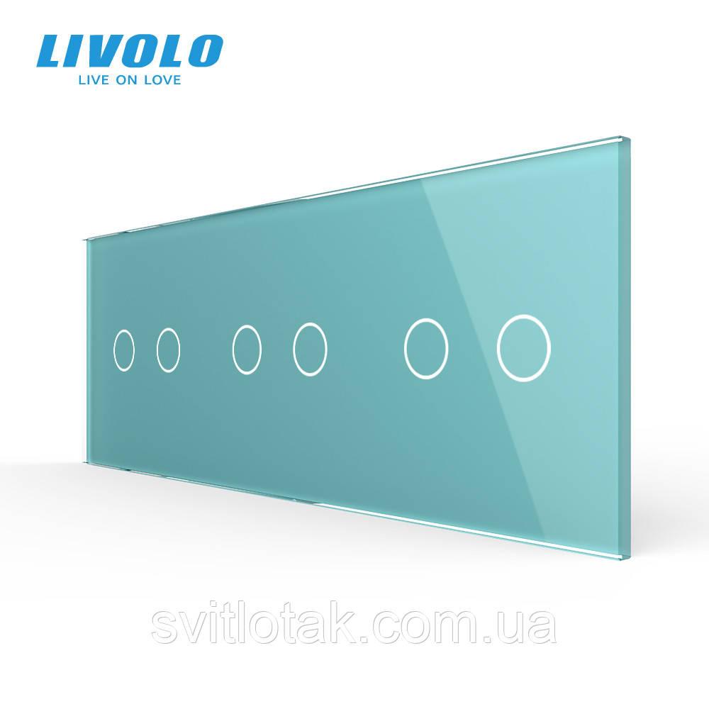 Сенсорная панель выключателя Livolo 6 каналов (2-2-2) зеленый стекло (VL-C7-C2/C2/C2/-18)