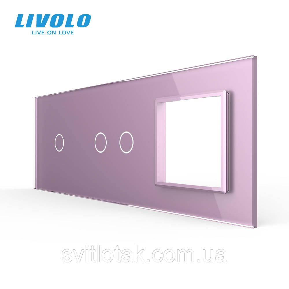 Сенсорная панель выключателя Livolo 3 каналов и розетку (1-2-0) розовый стекло (VL-C7-C1/C2/SR-17)