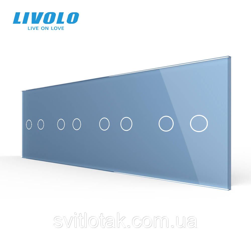 Сенсорная панель выключателя Livolo 8 каналов (2-2-2-2) голубой стекло (VL-C7-C2/C2/C2/C2-19)