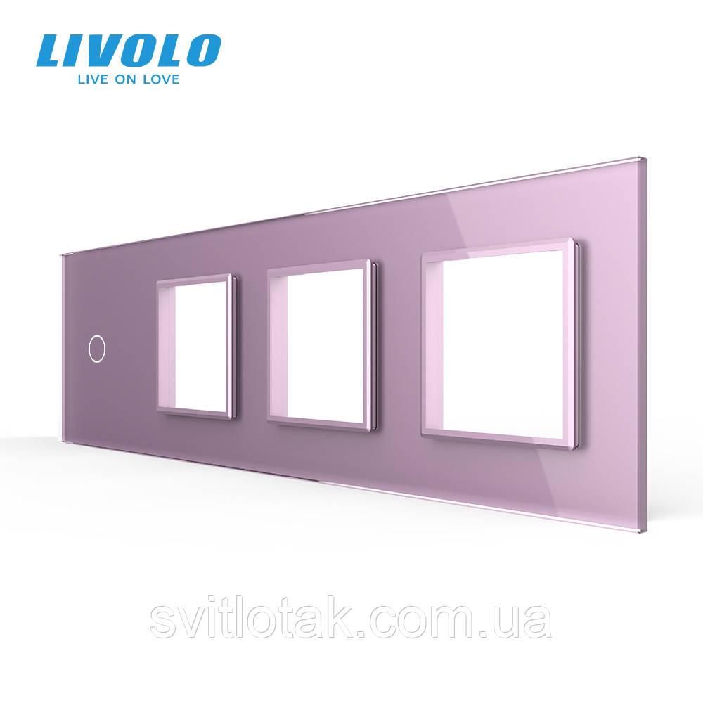 Сенсорна панель вимикача Livolo і трьох розеток (1-0-0-0) рожевий скло (VL-C7-C1/SR/SR/SR-17)