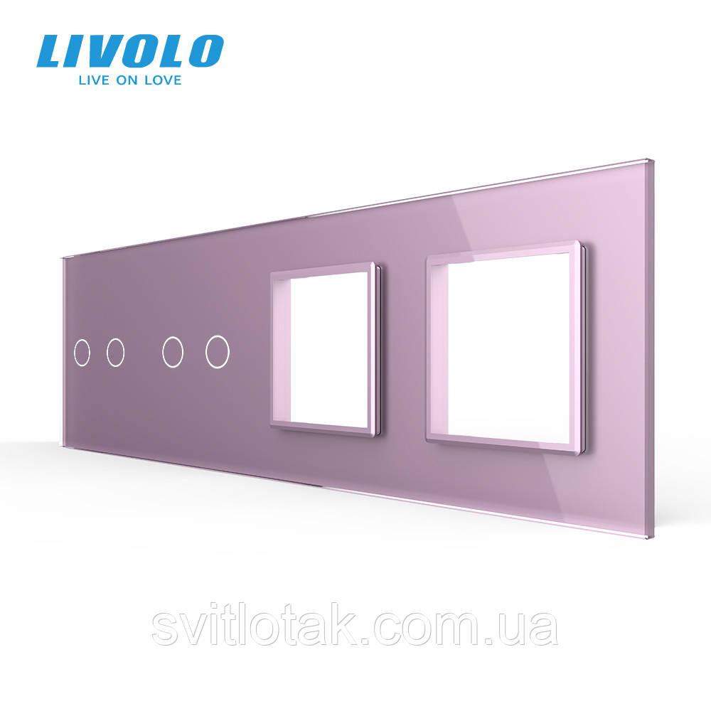 Сенсорна панель вимикача Livolo 4 канали і дві розетки (2-2-0-0) рожевий скло (VL-C7-C2/C2/SR/SR-17)