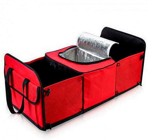 Органайзер холодильник в багажник автомобиля для похода туризма отдыха UKC Trunk Organizer Cooler красный
