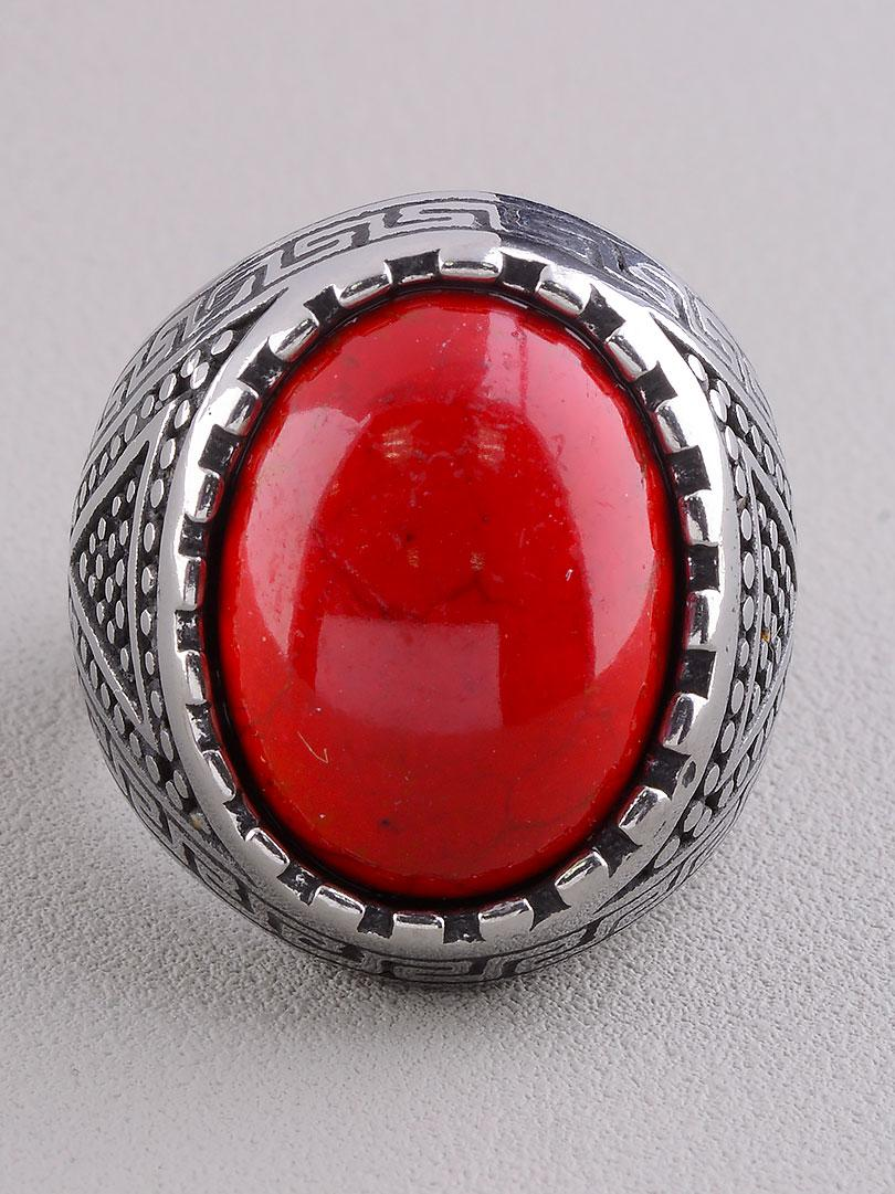 Кольцо на палец  'Stainless Steel' Коралл Медицинская сталь 316L22,6 г