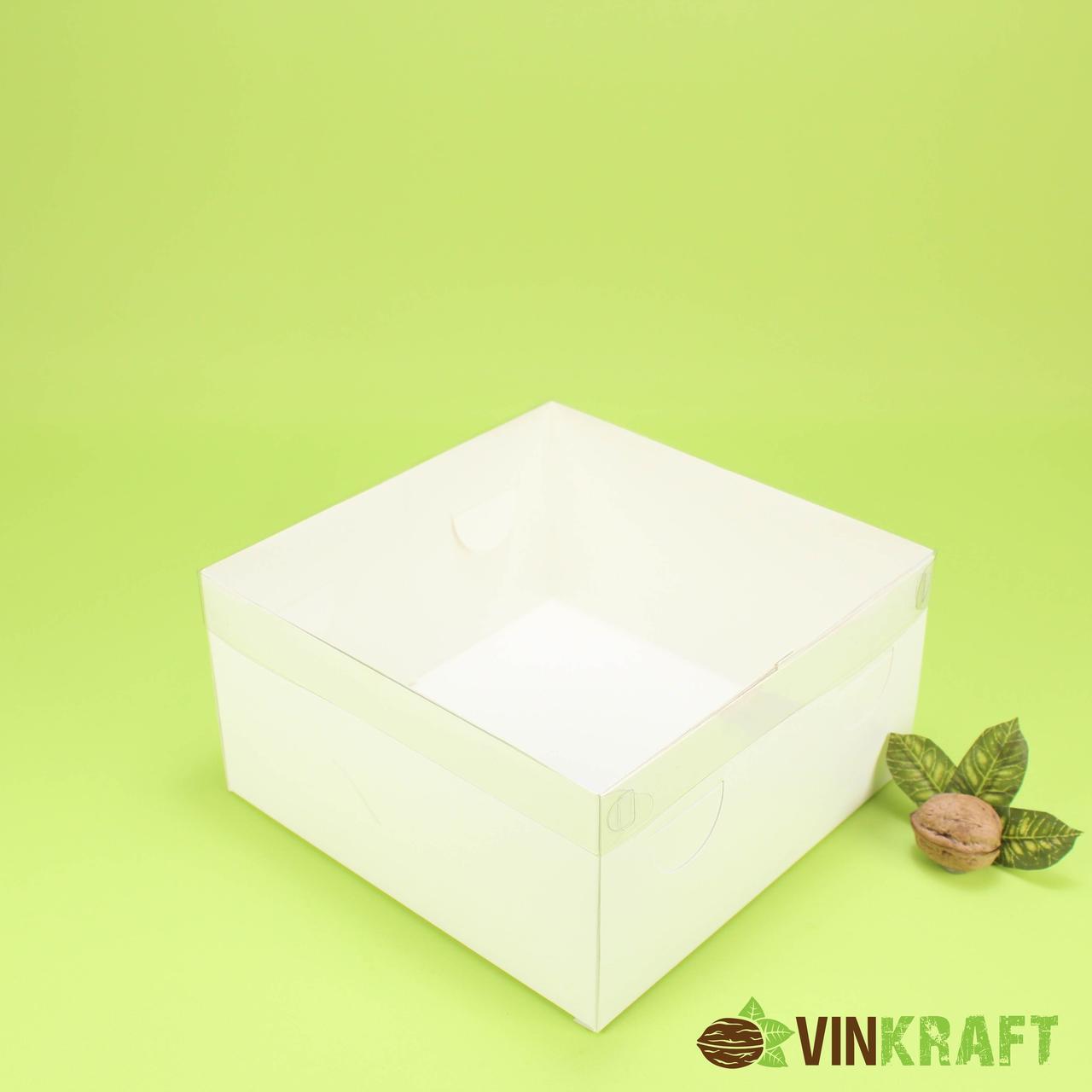 Коробка 200*200*105 для торта с ПВХ крышкой, белая