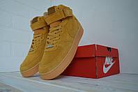 Комфортна зимова взуття Nike Air Force 1. Гірчичні кросівки Найк для чоловіків. Чоловічі кросівки Найк для зими