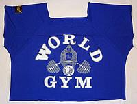 Футболка бодібілдера World Gym з ворсом, фото 1