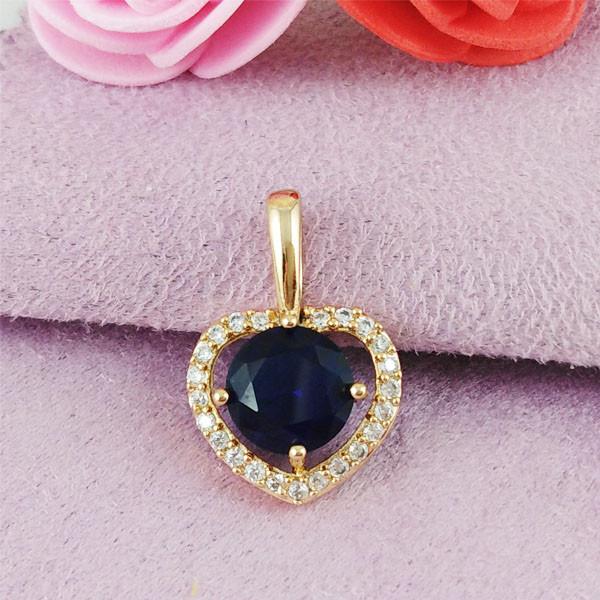 Кулон Xuping Jewelry Сердце с синим камнем медицинское золото позолота 18К А/В 5-0069