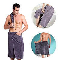 "Мужское полотенце для бани и сауны из микрофибры, чоловіча юбка для бані, полотенце юбка ""Джозеф"", 150х65 см"