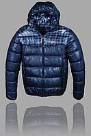 Теплая зимняя мужская куртка Nike (Найк) (Nike-1), куртки мужские, спортивная мужская куртка, Темно синий