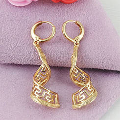 Сережки Xuping Спіральки медичне золото позолота 18К А/В 1-0155