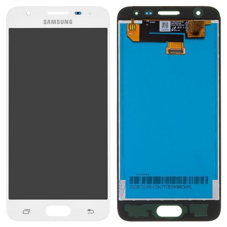 Дисплей (екран) для Samsung G570M DS Galaxy J5 Prime з сенсором (тачскріном) білий переклеєне скло