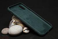 Силиконовый чехол с бархатной подкладкой для iPhone X(XS) темно-зеленый
