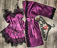 Халат, піжама( майка+шорти). Атласний комплект домашнього одягу.