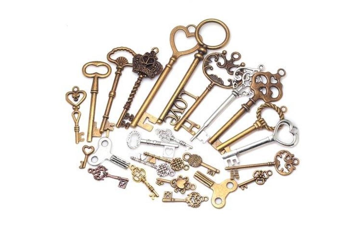 Набор из 40 металлических подвесок шармов шармиков, ключи Premium