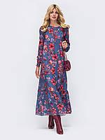 Длинное женское платье в стиле бохо из креп-шифона р.44-52.