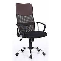 Офисное кресло компьютерное из экокожи и эластичной сетки до 120 кг для детей подростков и взрослых коричневое