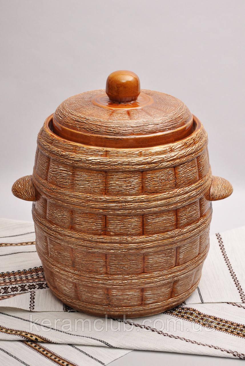 Бочонок керамический для засолки с водяным затвором V 15 л