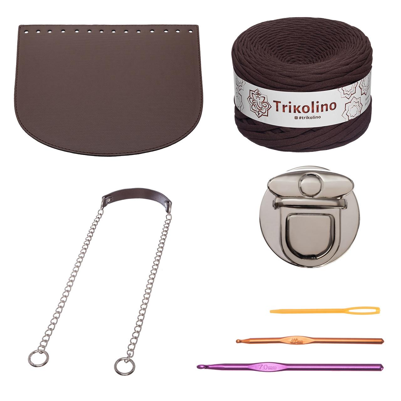 Набір для сумки-черепашки Орео МАКСІ Шоколад, фурнітура срібло