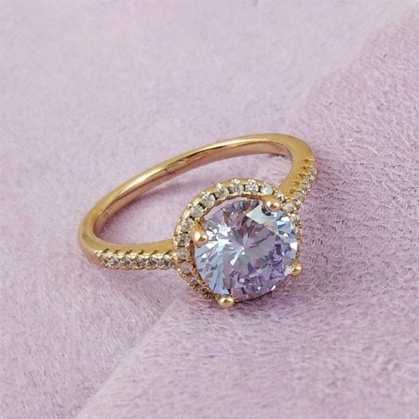 Кольцо Xuping Jewelry размер 19 Эмилия лиловый медицинское золото позолота 18К А/В 2-0029