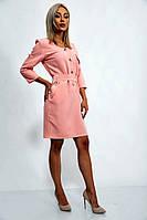 Офисное платье с рукавом три четверти длинна по колено (персиковый, р.S,М)