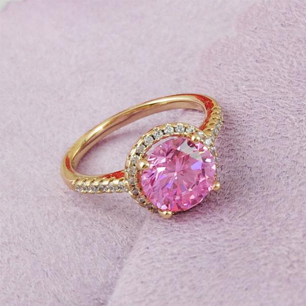 Кольцо Xuping Jewelry размер 17 Эмилия розовый медицинское золото позолота 18К А/В 2-0031