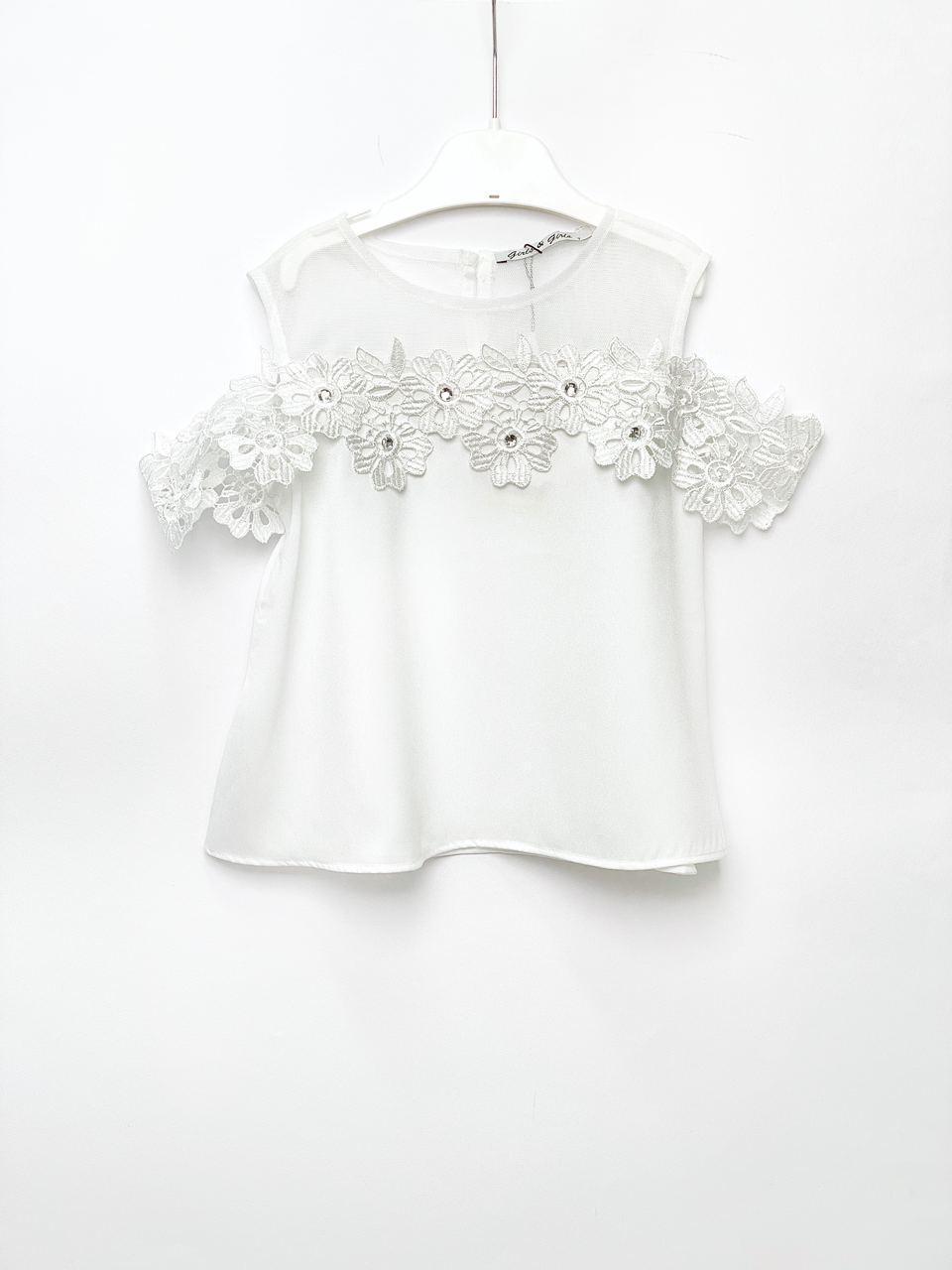 Біла блуза для дівчинки, розміри 5, 6, 8, 10, 12 років