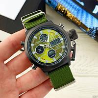 Мужские оригинальные часы AMST 3003 Black-Green Green Wristband