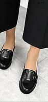 Женские черные лоферы из натуральной кожи на низком каблуке. Италия Украина. 36 37 38 39 40 41