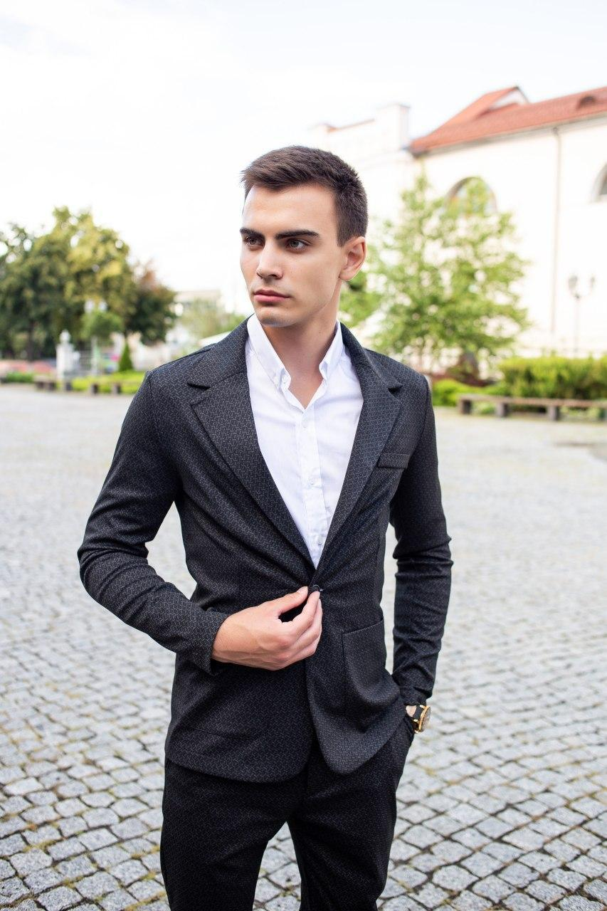 Мужской классический костюм Pobedov Suits «Top» цепочка черный