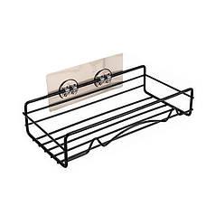 Полка решетка Lesko для ванной комнаты Прямая Difani Metal Black 23,5*11,5*5,5 см