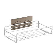 Полка решетка Lesko для ванной комнаты Прямая Difani Metal White 23,5*11,5*5,5 см