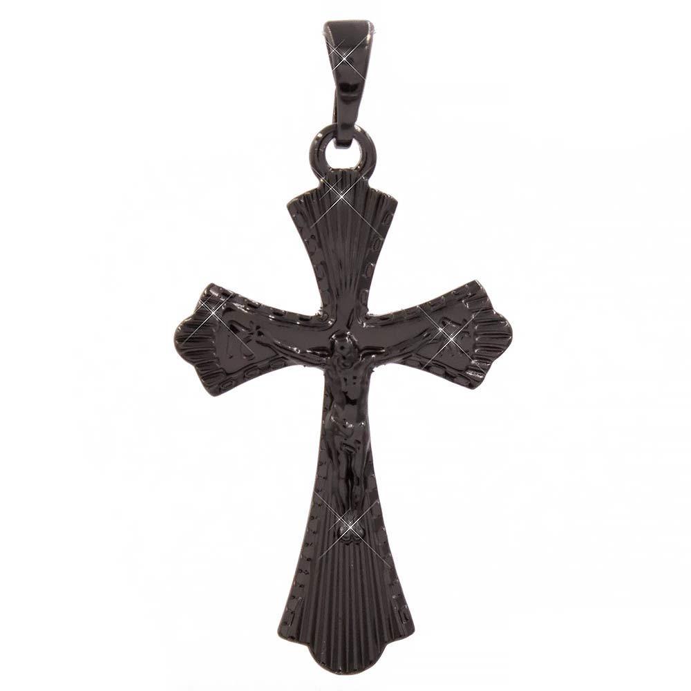 Подвеска (черный родий) Крестик с распятием