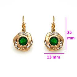 Серьги Роза с зеленым цирконием, позолота Xuping, 18К