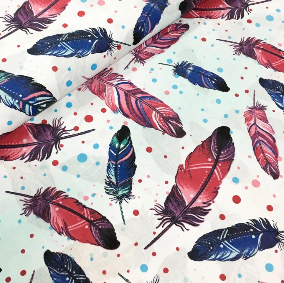 """Польская хлопковая ткань """"перья большые фиолетово-синие с горохом на белом """""""