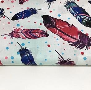 """Польская хлопковая ткань """"перья большые фиолетово-синие с горохом на белом """", фото 2"""