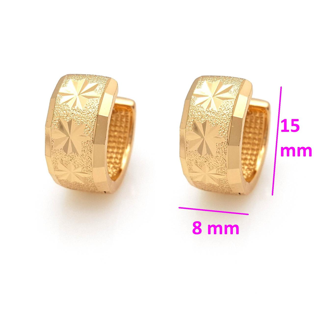 Сережки Колечка з напиленням та різбленням, без камінців, позолота Xuping, 18К