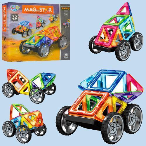 """Магнитный конструктор MagniStar """"транспорт"""" 32 деталей."""