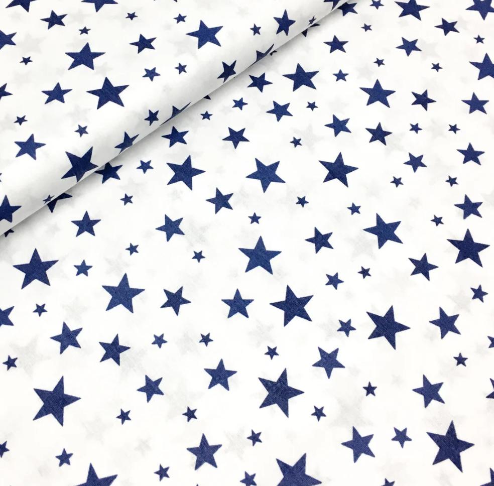 """Польская хлопковая ткань """"звездная россыпь темно-синяя на белом"""""""